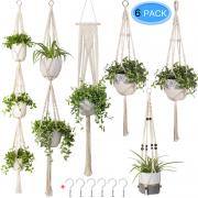 6 Pack Macrame Plant Hangers, MENOLY Hanging Planter Different Tiers, Handmade Cotton Rope, Hanging Plant Holder Stand with 6 PCS Hooks for Indoor Outdoor Boho Home Decor