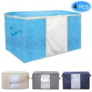 MENOLY 4 Pack Foldable Storage Bag, Collapsible Storage Bag Organizers with Clear Window, Carry Handles, Zipper for Clothes, Closets, Blankets, Bedrooms