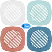 MENOLY Drain Hair Catcher 4 PCS Shower Drain Cover Silicone Drain Protector for Bathroom Shower Room Kitchen Balcony, 4 Colors