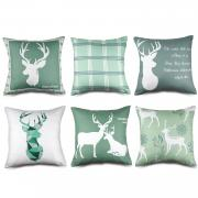 MENOLY 6 PCS Christmas Pillow Covers 18 X 18 inch, Decorative Throw Pillow Covers Deer Elk Cushion Couch Pillow Cover for Christmas Winter Indoor Home Sofa Cars